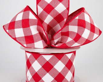 Buffalo Plaid Bow - Red & White - Custom Made with this Ribbon