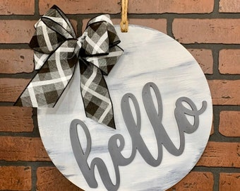 Hello Door Hanger | Gray Whitewashed | Wall Decor Housewarming Wedding Decor Farmhouse Shabby Chic Rustic