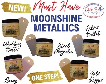 Dixie Belle Moonshine Metallics Paint | Beautiful Shimmering Paint in Gold, Steel, Silver, Ivory & Rose' Hues