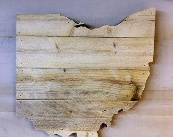 "Ohio Wood Large State Shape Cutout  15 1/2 x 16""  - Options to Customize"