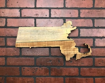 "Massachusetts State Shape Rustic Wood Sign Hanger (mainland only)  20"" x 10 1/2"" Laser Engraving Options- Wedding, Home Decor, Birthday"