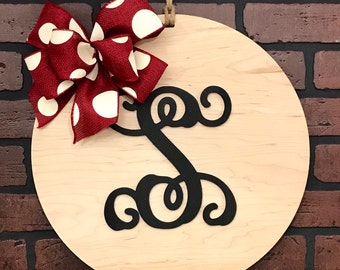 Monogram Door Hanger Wood Wall Decor Housewarming Wedding Farmhouse Christmas Gift