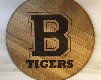 Collegiate Style School Letter Barrel Head Lid - Personalized with your Team School Sports Name