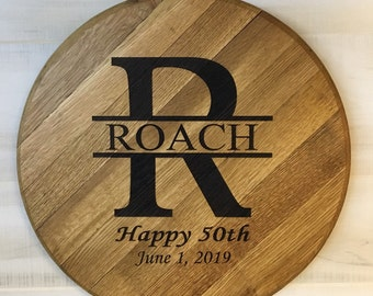 Bourbon Barrel Head to Personalize for Anniversary Gift