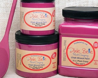 Dixie Belle Plum Crazy Mineral Chalk Paint DIY for Furniture, Cabinets - Many Colors, Stains, Waxes