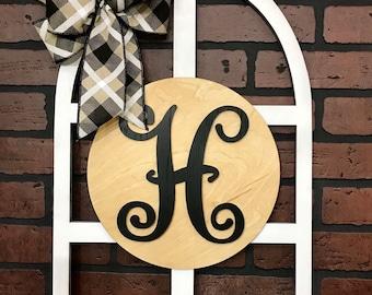 Monogram Door or Wall Hanger, Window Pane Style