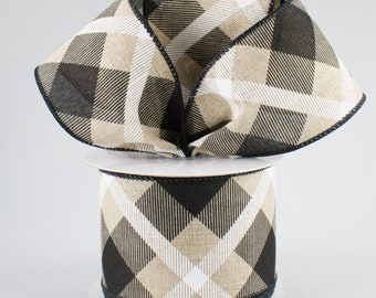 Plaid Bow - Black White & Beige - Custom Made with this Ribbon