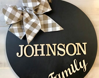 Last Name Family Wall or Door Hanger | Farmhouse Decor | Housewarming Gift | Personalized Gift