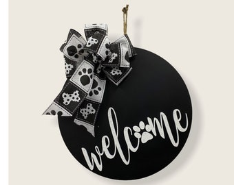 Paw Welcome Door Hanger | Paw Print Front Door Decor