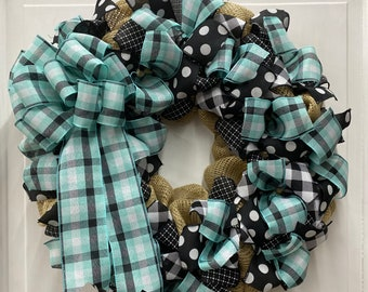 Front Door Wreath | Popular Plaid Aqua, Black, White with Burlap | Spring or Summer Door Decor | Made with our Wreath It! Base