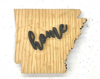 """Arkansas State Wood Plaque - 17"""" x 15"""" - Natural, Walnut Stain or Gray Stain - Personalized Engraving Option"""