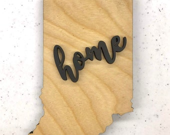 """Indiana State Wood Plaque - 12 3/4"""" x 20"""" - Natural, Walnut Stain or Gray Stain - Personalized Engraving Option"""
