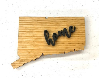 "Connecticut Wood Sign - Engraving Option - 20"" x 14.75"""