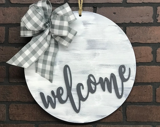 Featured listing image: Welcome Door Hanger | Bow Options | Housewarming Gift | Wedding Gift | Gift for Mom | Shabby Chic Decor