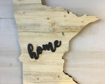 "Minnesota State Wood Sign Large State Shape Rustic Hanger 17"" x 15"" - Options to Customize"