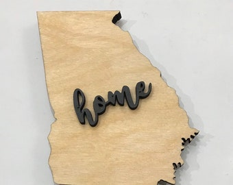 "Georgia State Wood Plaque - 18""x15"" - Natural, Walnut Stain or Gray Stain - Personalized Engraving Option"
