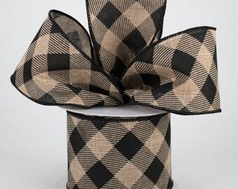 Buffalo Plaid Bow - Beige & Black - Custom Made with this Ribbon