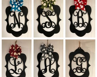 "Monogram Door Hanger, 23"" x 15 1/2"" Wood Hanger, Vine Letter, Housewarming, Black or Unpainted, Bow Options"