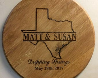 Bourbon Barrel Head Texas State Shape Lid Personalized Wedding Guestbook - Customize for any State Shape