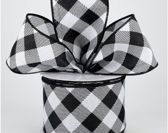 Buffalo Plaid Bow - Black & White - Custom Made with this Ribbon