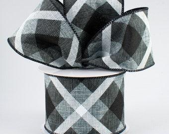 Plaid Bow - Black White & Gray - Custom Made with this Ribbon