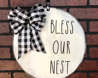 Bless Our Nest Door Decor |  Wall or Front Door Hanger | Farmhouse or Country Home Decor | Housewarming Gift | Buffalo Plaid