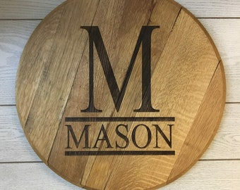 Bourbon Barrel Head - Last Name - Monogram - Engraved
