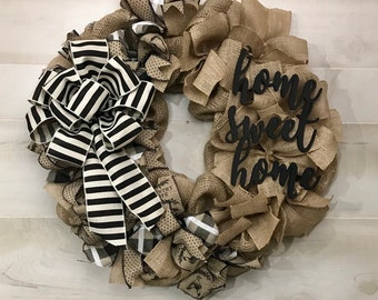 Home Sweet Home | Burlap Ribbon Wreath |Made with our Wreath it! Base