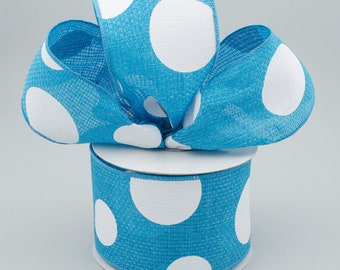 Polka Dot Bow - Turquoise & White - Custom Made with this Ribbon
