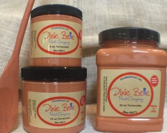 Dixie Belle Terracotta Orange Mineral Chalk Paint DIY for Furniture, Cabinets - Many Colors, Stains, Waxes