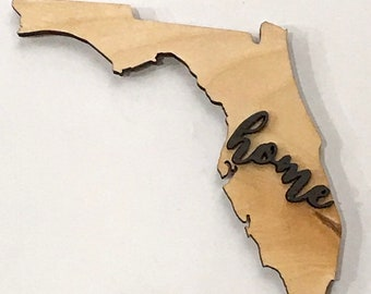 """Florida Wood Large State Plaque Cutout 17 1/2"""" x 15"""" - Natural, Walnut Stain or Gray Weathered Stain"""