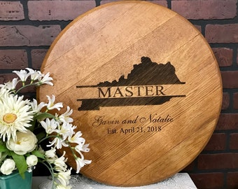Bourbon Barrel Head Kentucky State Shape Lid Personalized Wedding Guestbook - Customize for any State Shape