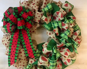 Front Door Watermelon Wreath |  Summertime Door Decor | Burlap with lots of Fabric Ribbons | Gray Red White | Made with our Wreath it Base
