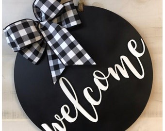 Welcome Door Hanger,- Buffalo Plaid Bow Options - Two Sizes - Front Door Sign - Wood Door Sign - Year Round Door Hanger