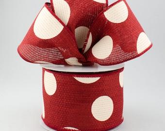 Polka Dot Bow - Burgundy & Ivory - Custom Made with this Ribbon