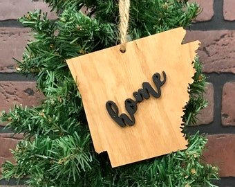 Arkansas Ornament Wood Keepsake Decoration Holiday Handmade Gift Home Ornie Party Favor