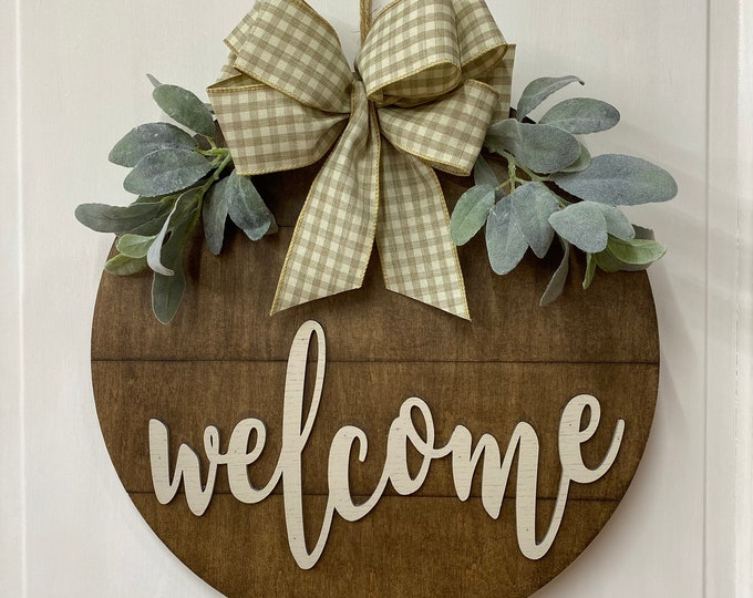 Featured listing image: Welcome Door Hanger - Lambs Ear Greenery - Shiplap Farmhouse Decor - Two Sizes - Walnut Stained Wood Sign - Year Round Door Hanger
