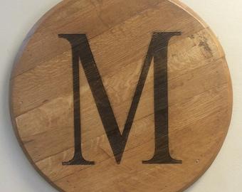 Monogrammed Bourbon Barrel Head Wedding Register Housewarming Keepsake Gift