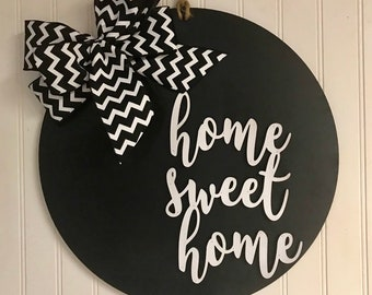 Home Sweet Home Door Hanger Wall Decor Housewarming Front Door Wreath Year Round Decor Farmhouse Shabby Chic Rustic