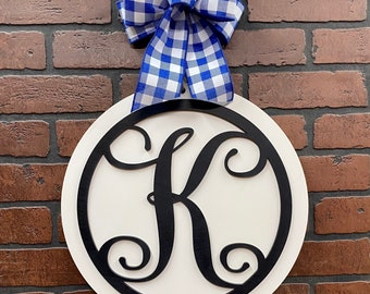 "Monogram Door Hanger | Round Door Sign | Front Door Decor | 15"" or 18"" 