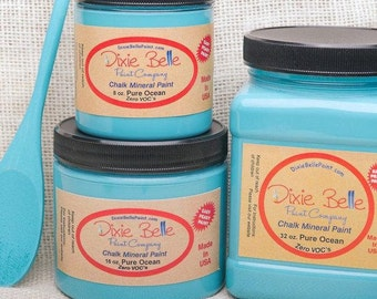 Dixie Belle Pure Ocean Teal Blue Chalk Mineral Paint, Furniture Paint, Cabinet Paint, Craft Paint, Paint Parties, Stencil Paint