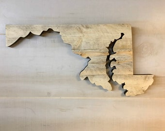 """Maryland Wood Sign Hanger 20"""" x 10"""" with Personalized Engraving Option"""