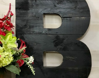 "Black Painted Distressed Large Rustic Wood Letter 22"" Tall Any Letter, Farmhouse, Shabby Chic Decor, Barn Style"