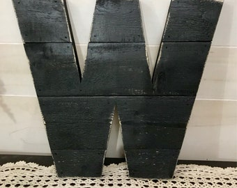 "Black Painted Distressed Large Rustic Wood Letter 12"" Tall Any Letter, Farmhouse, Shabby Chic Decor, Barn Style"