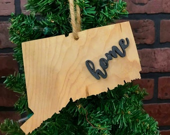 Connecticut Ornament Keepsake Decoration Holiday Handmade Gift Home Ornie Party Favor