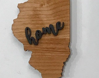 "Illinois State Wood Plaque - 20"" x 11""  - Natural, Walnut Stain or Gray Stain - Personalized Engraving Option"
