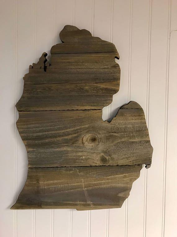 Michigan Large State Shape Mitten Rustic Wood Sign Hanger