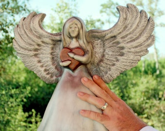 Angel with Heart Cremation Urn, Artistic Ceramic Sculpture- Medium for Child or Keepsake- Unique Personalized Funeral Urns for Human Ashes