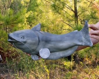 Catfish Trophy Cremation Urn- Artistic Ceramic Fish Sculpture for Fisherman - Personalized Decorative Funeral Urns for Human Ashes