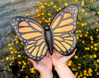 Monarch Butterfly Cremation Urn, Artistic Ceramic Sculpture- Large Unique Personalized Decorative Funeral Urns for Human Ashes